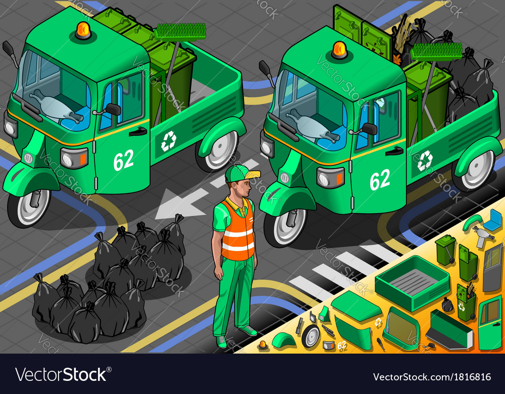 Isometric garbage rickshaw in front view vector | Price: 1 Credit (USD $1)