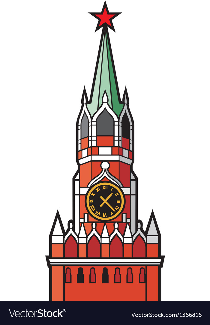 Kremlin tower with clock in moscow vector | Price: 1 Credit (USD $1)