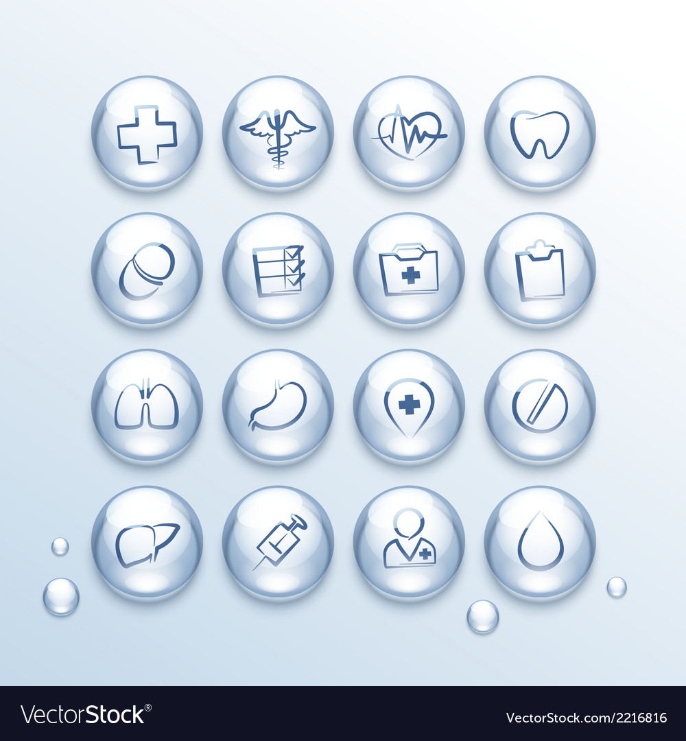 Medical icons set in drops vector | Price: 1 Credit (USD $1)