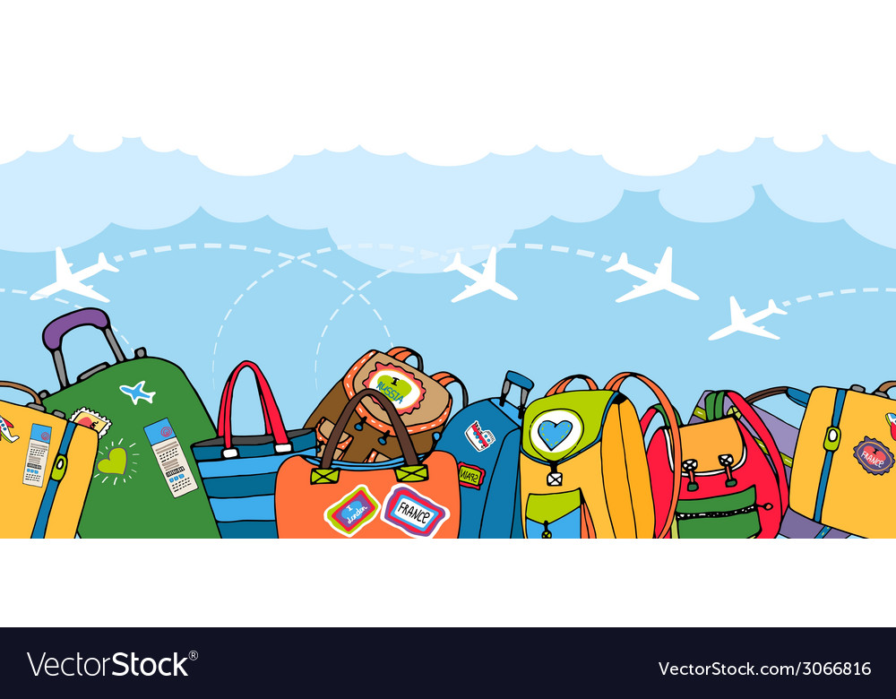 Multiple colorful suitcases bags and backpacks vector | Price: 1 Credit (USD $1)