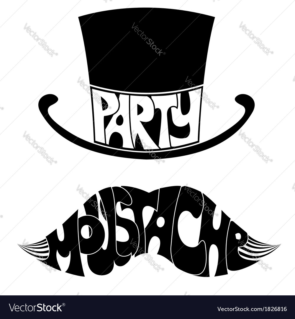 Party mustache and hat with text vector | Price: 1 Credit (USD $1)