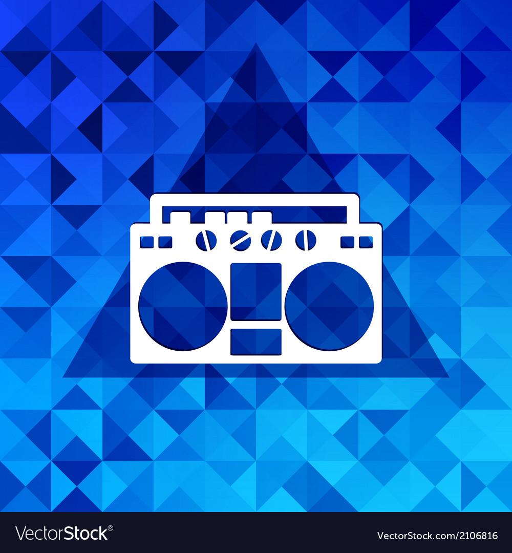 Retro tape recordertriangle background vector | Price: 1 Credit (USD $1)