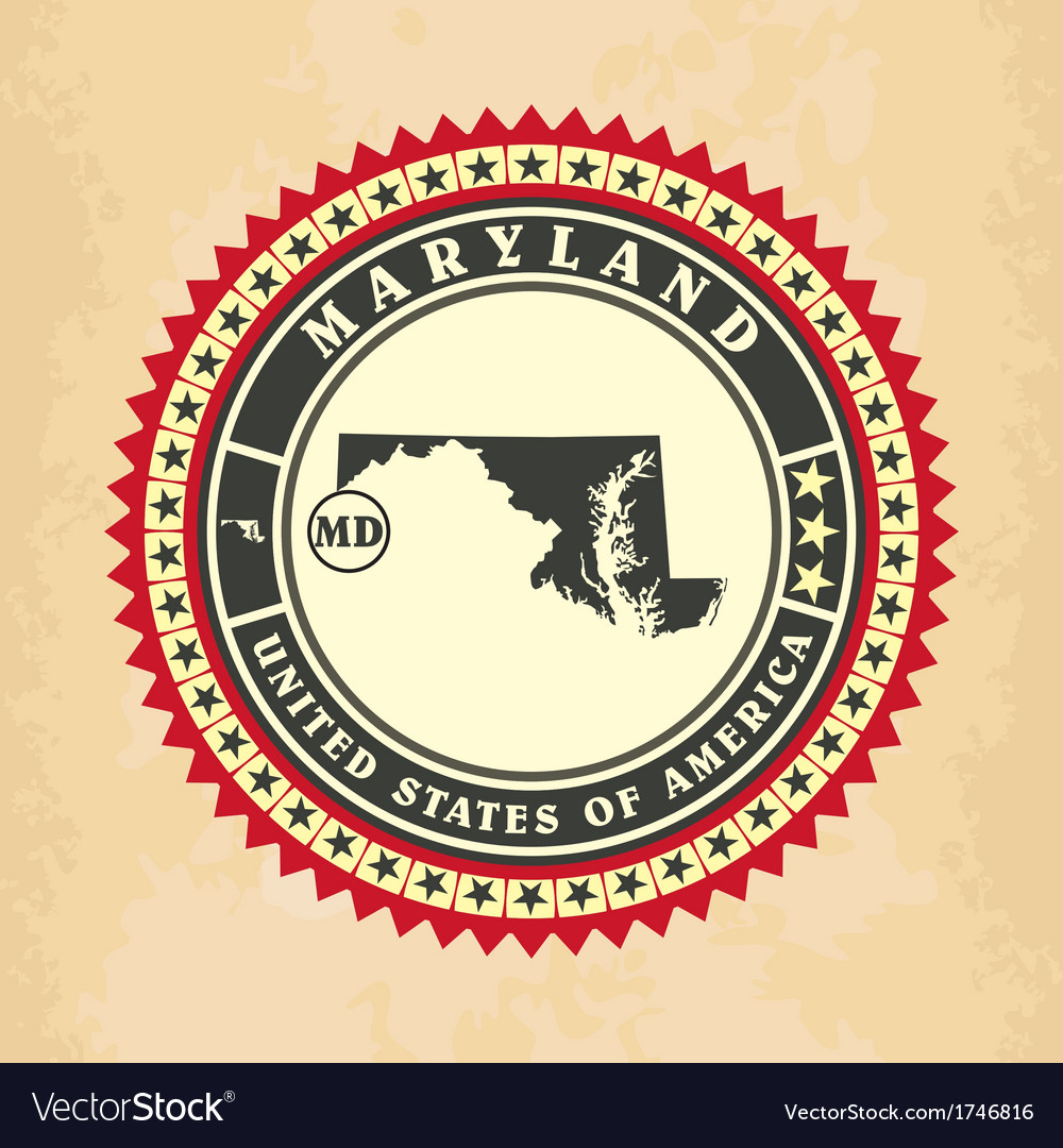 Vintage label-sticker cards of maryland vector | Price: 1 Credit (USD $1)