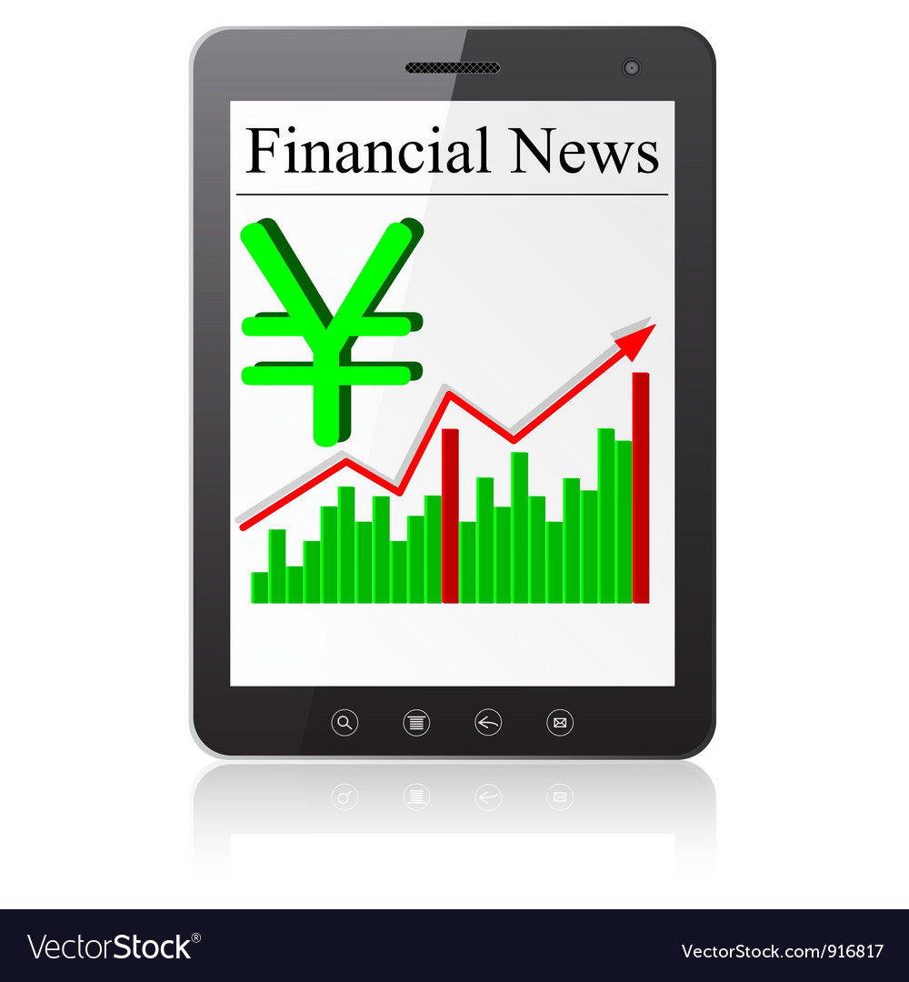 Financial news yena on tablet pc isolated on white vector | Price: 1 Credit (USD $1)