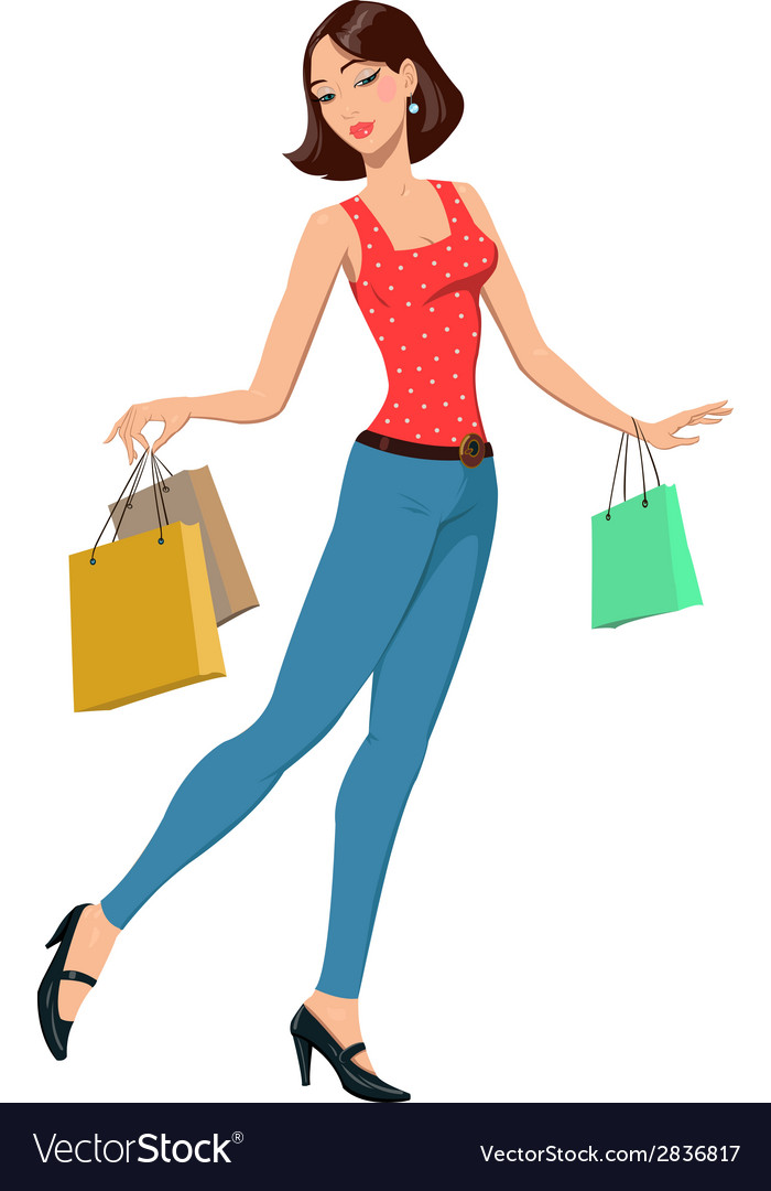 Girl with shopping bags vector | Price: 1 Credit (USD $1)