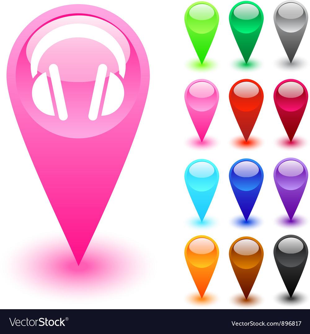 Headphones button vector | Price: 1 Credit (USD $1)