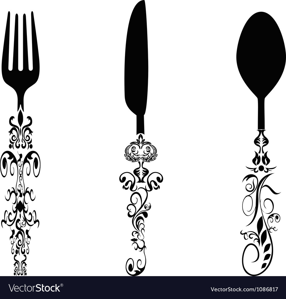 Ornament cutlery set vector | Price: 1 Credit (USD $1)