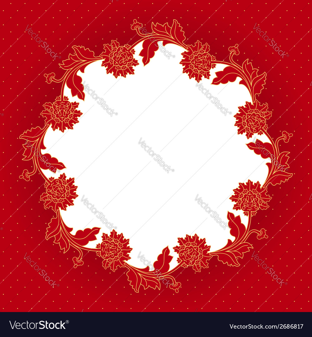 Red flowers frame vector | Price: 1 Credit (USD $1)