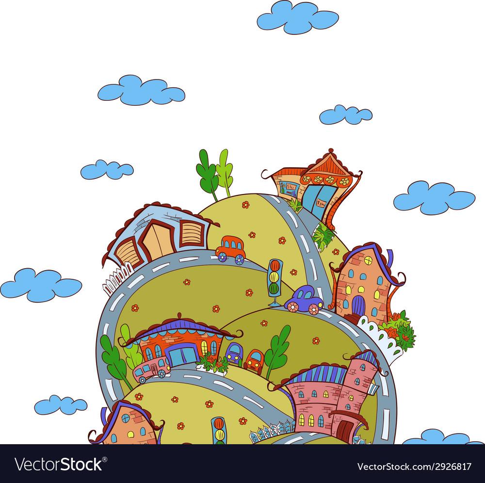 Scene with cartoon houses vector | Price: 1 Credit (USD $1)
