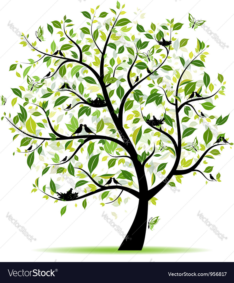 Spring tree green with birds for your design vector | Price: 1 Credit (USD $1)