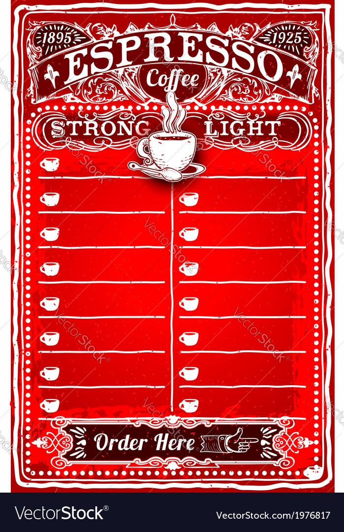 Vintage hand drawn board for espresso menu vector | Price: 1 Credit (USD $1)