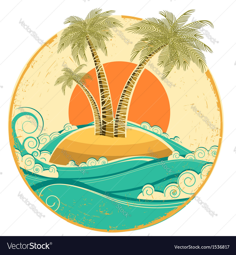 Vintage tropical island symbol seascape with sun vector | Price: 1 Credit (USD $1)