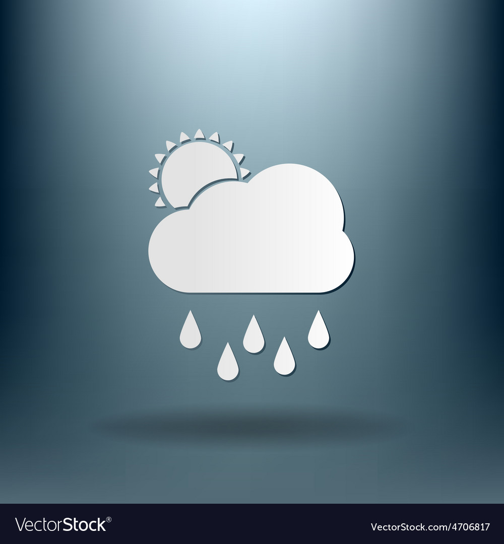 Weather icon sun behind the cloud with rain vector | Price: 1 Credit (USD $1)
