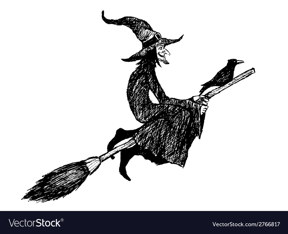 Witch and broom vector   Price: 1 Credit (USD $1)