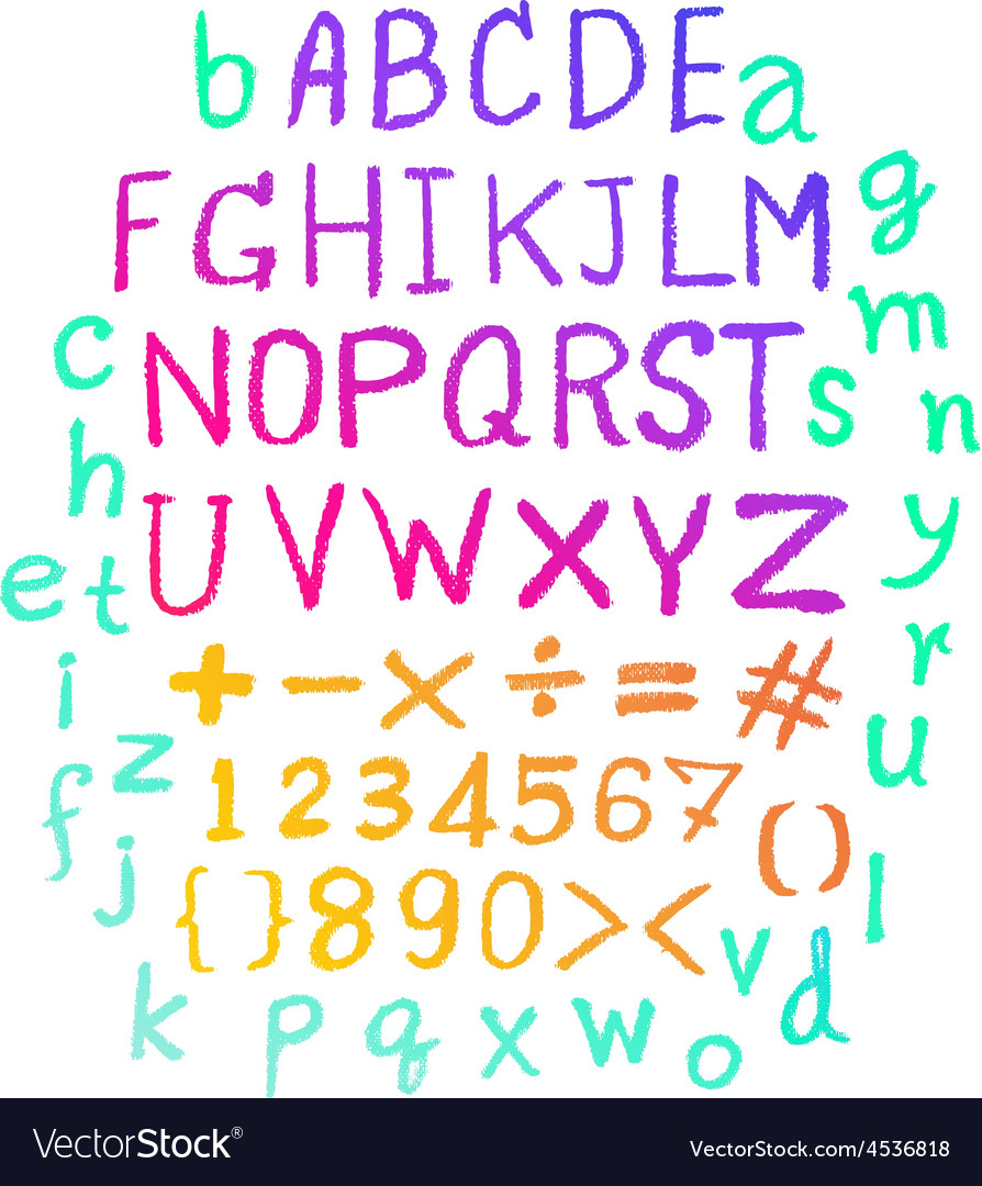 Alphabet hand drawn letters letters vector | Price: 1 Credit (USD $1)