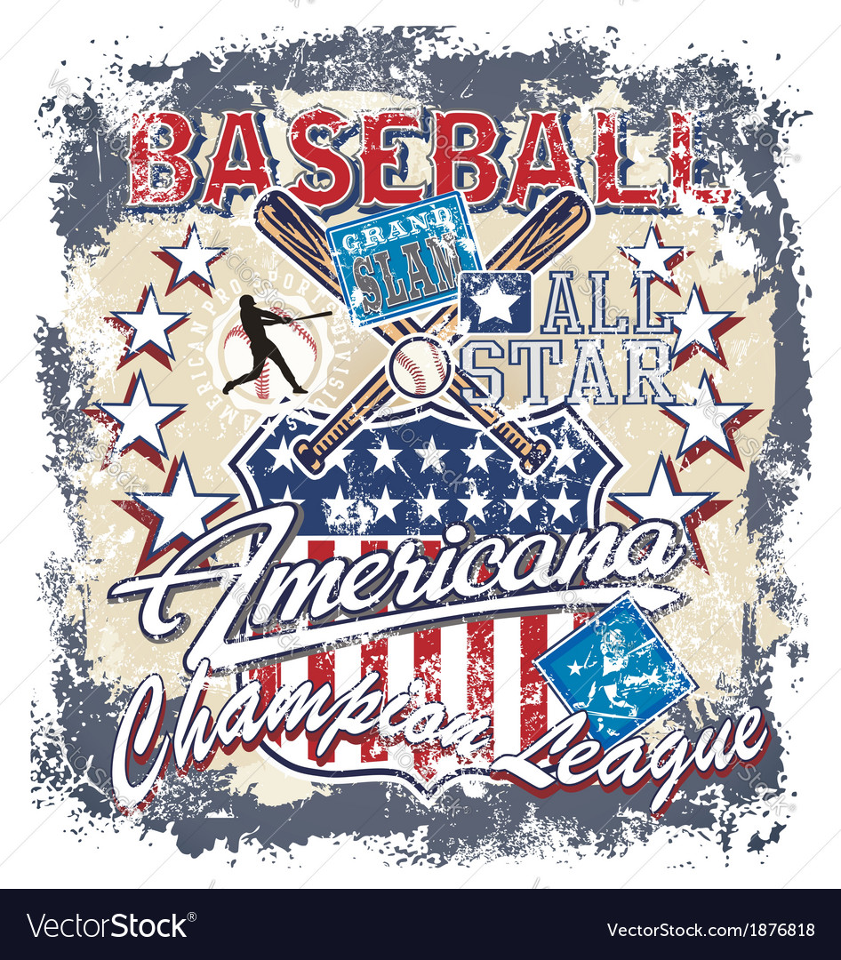 Baseball americana crack vector | Price: 3 Credit (USD $3)