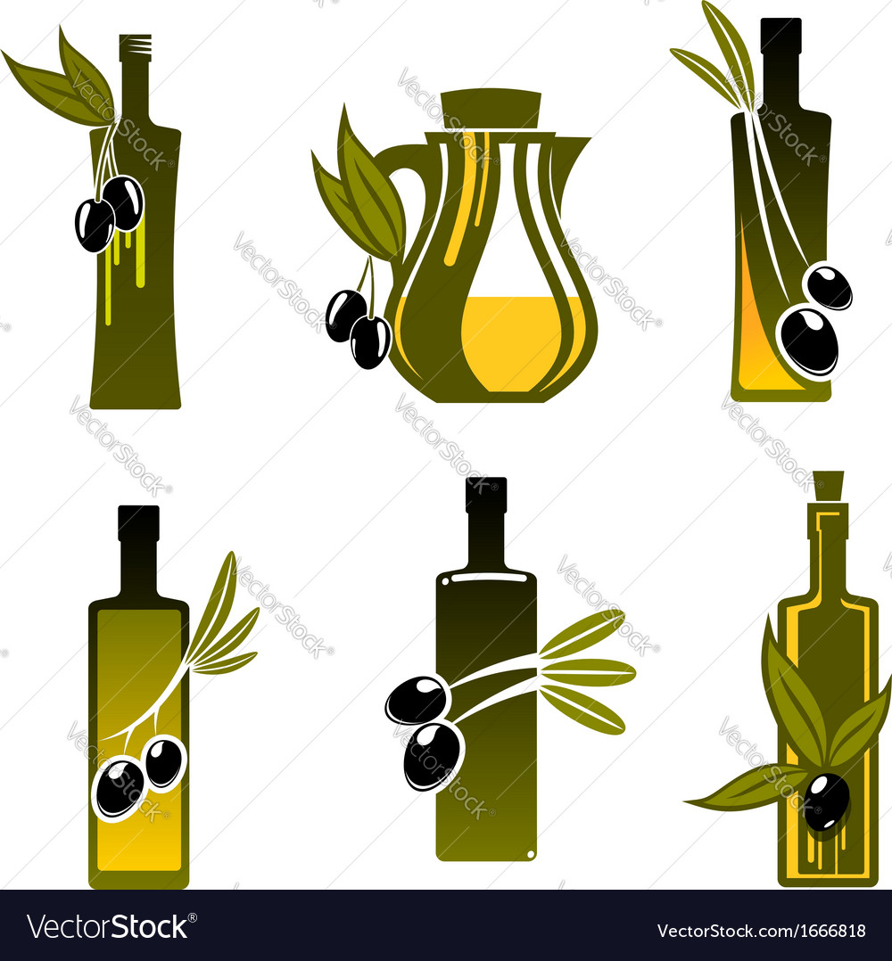 Bottles with olive oil vector | Price: 1 Credit (USD $1)