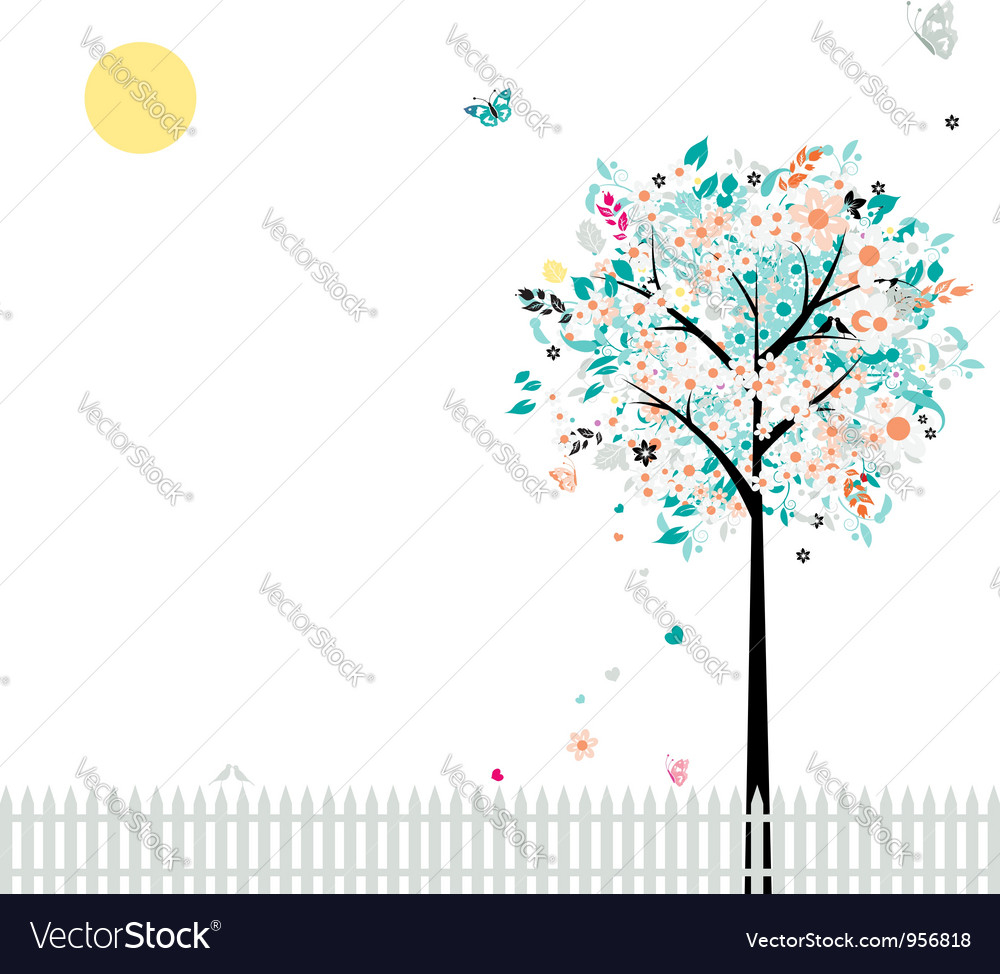Floral tree beautiful for your design birds on fen vector | Price: 1 Credit (USD $1)