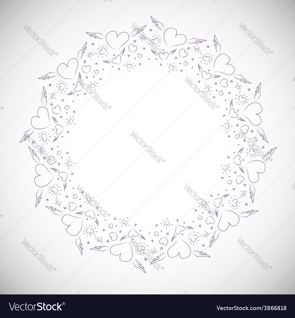 Heart border frame vector | Price: 1 Credit (USD $1)