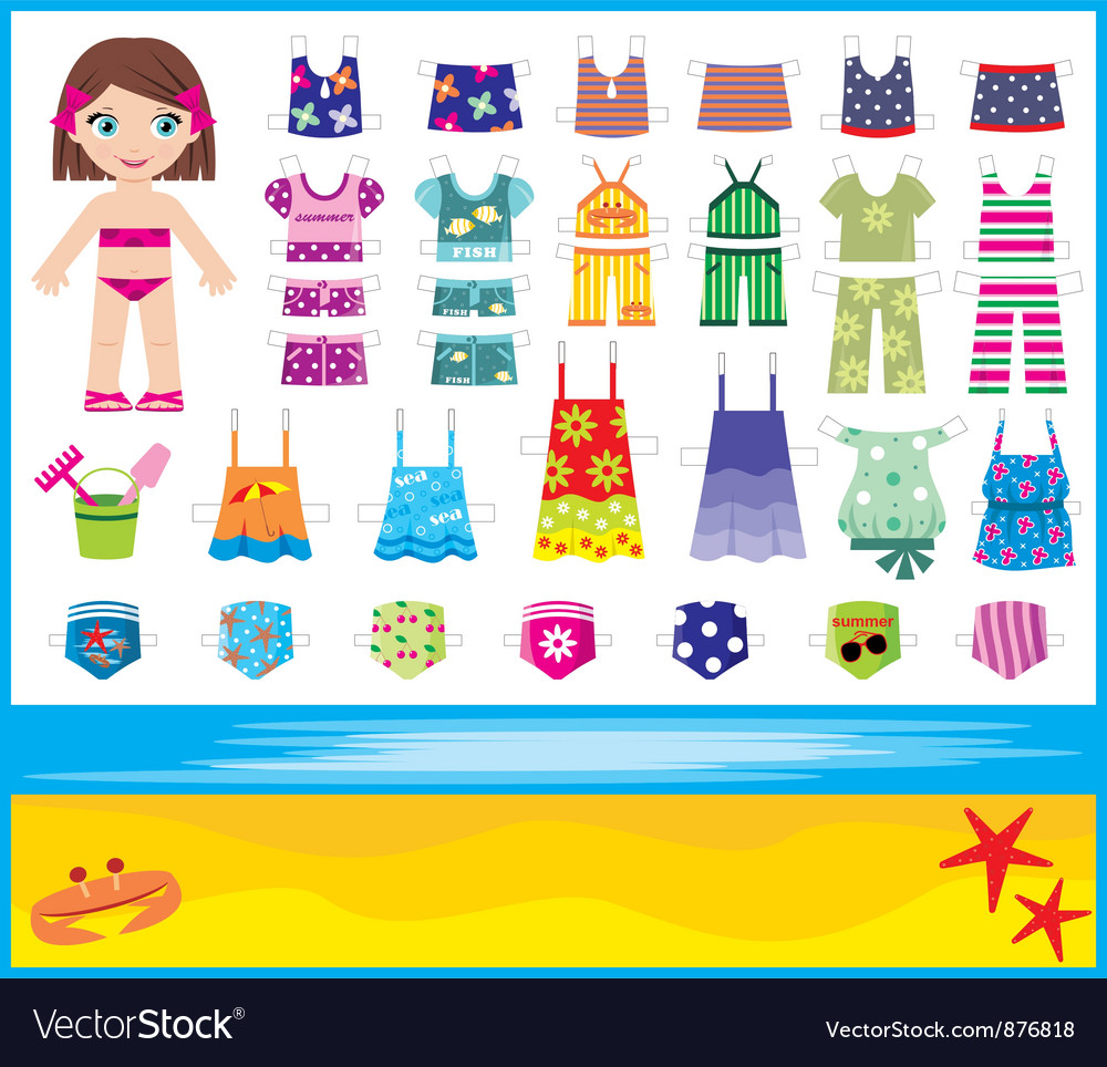 Paper doll with summer set of clothes vector | Price: 3 Credit (USD $3)