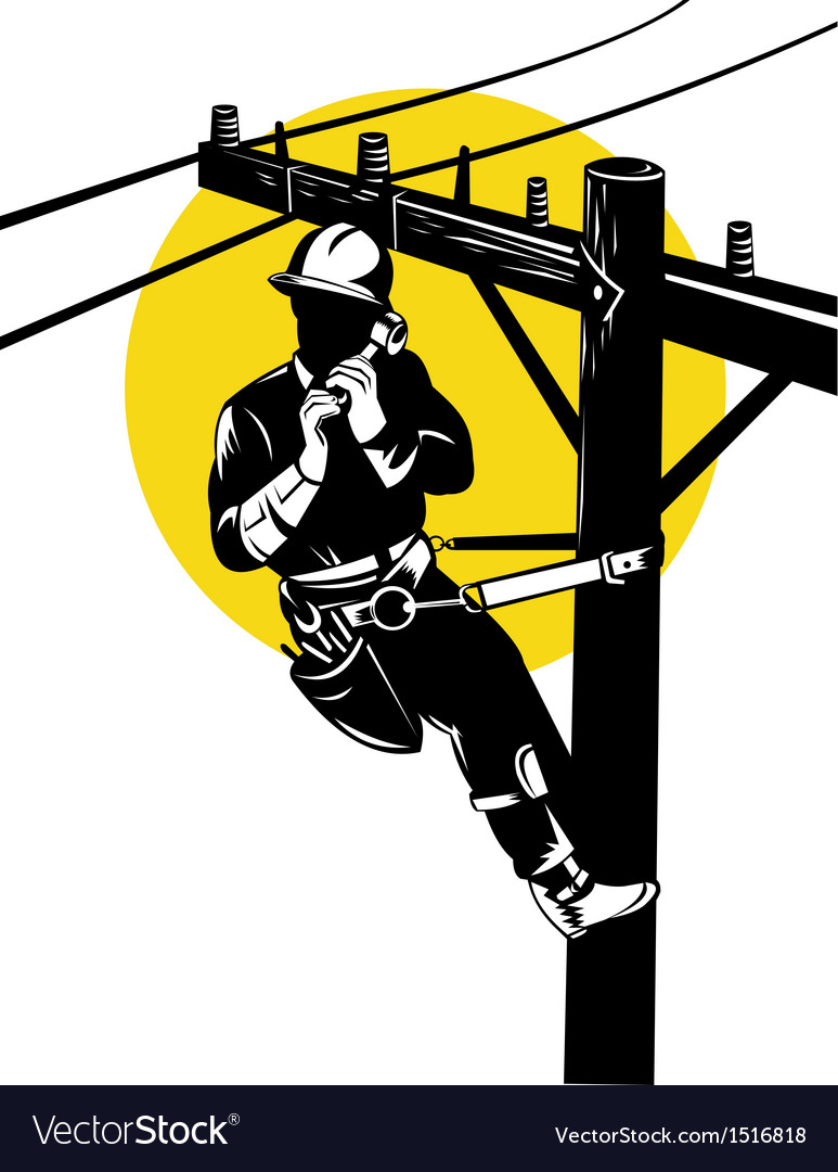 Power lineman on phone vector | Price: 1 Credit (USD $1)