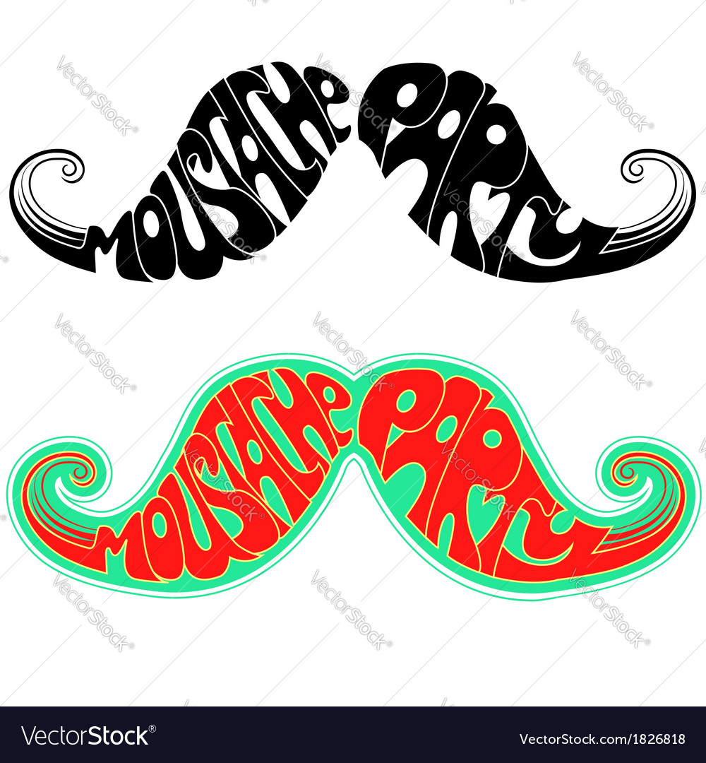 Retro party moustaches isolated on white vector   Price: 1 Credit (USD $1)