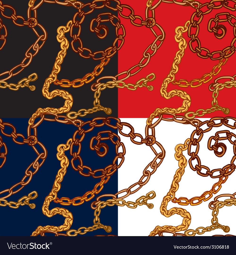 Set of seamless patterns with handdrawn gold chain vector | Price: 1 Credit (USD $1)