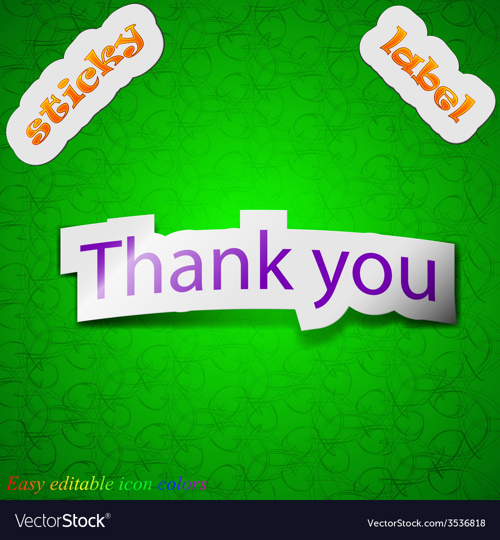 Thank you icon sign symbol chic colored sticky vector | Price: 1 Credit (USD $1)