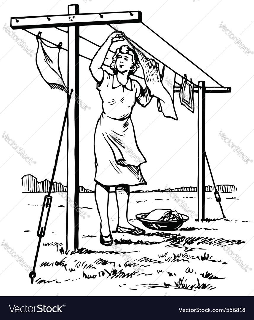 Woman hangs the linen vector | Price: 1 Credit (USD $1)