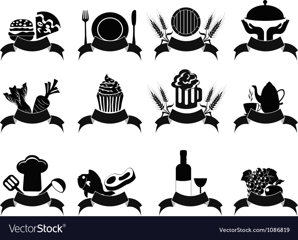 Black food banner icons set vector | Price: 1 Credit (USD $1)