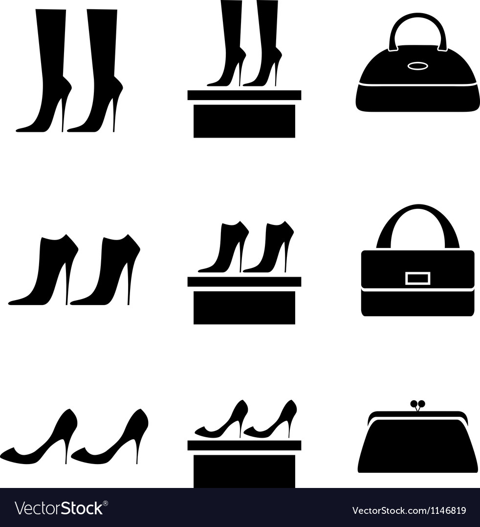 Black icons female bags and shoes vector | Price: 1 Credit (USD $1)
