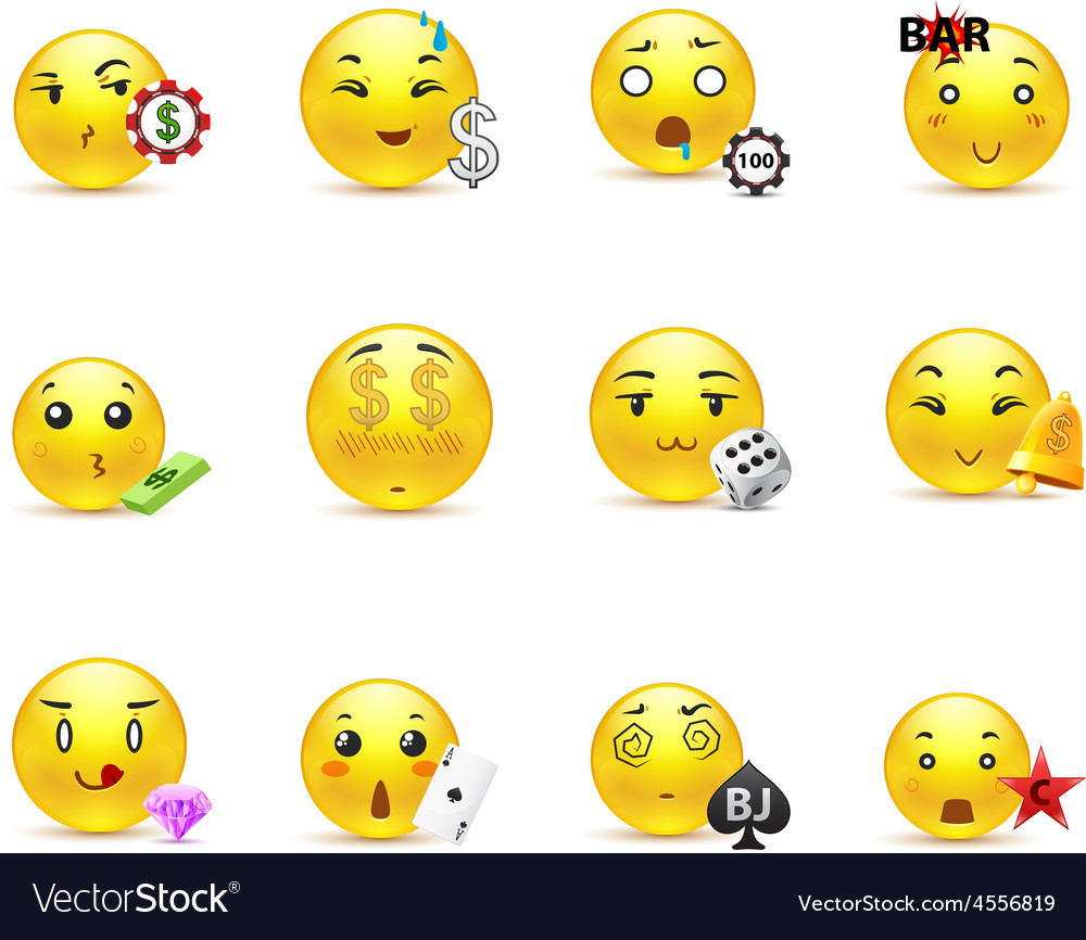 Gambling anime smilies vector | Price: 1 Credit (USD $1)