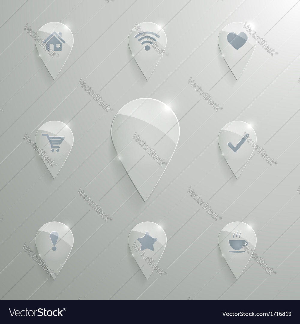 Glass map pin set vector | Price: 1 Credit (USD $1)