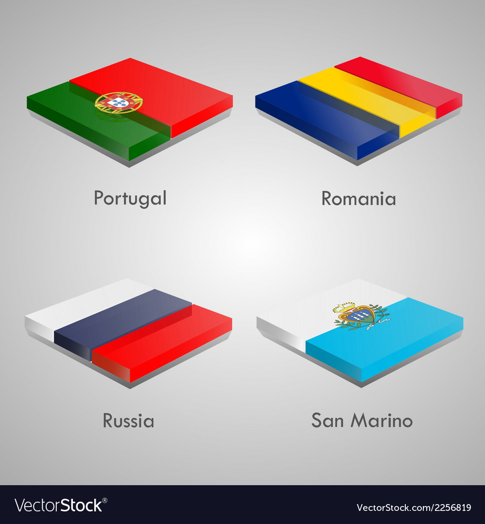Glossy bricks buttons with european country flags vector | Price: 1 Credit (USD $1)