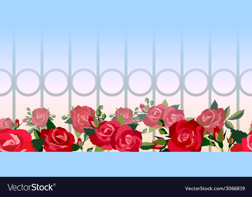 Horizontal seamless pattern of red roses vector | Price: 1 Credit (USD $1)