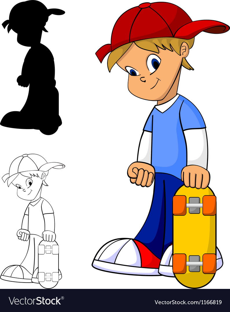 Kid with skateboard vector | Price: 1 Credit (USD $1)