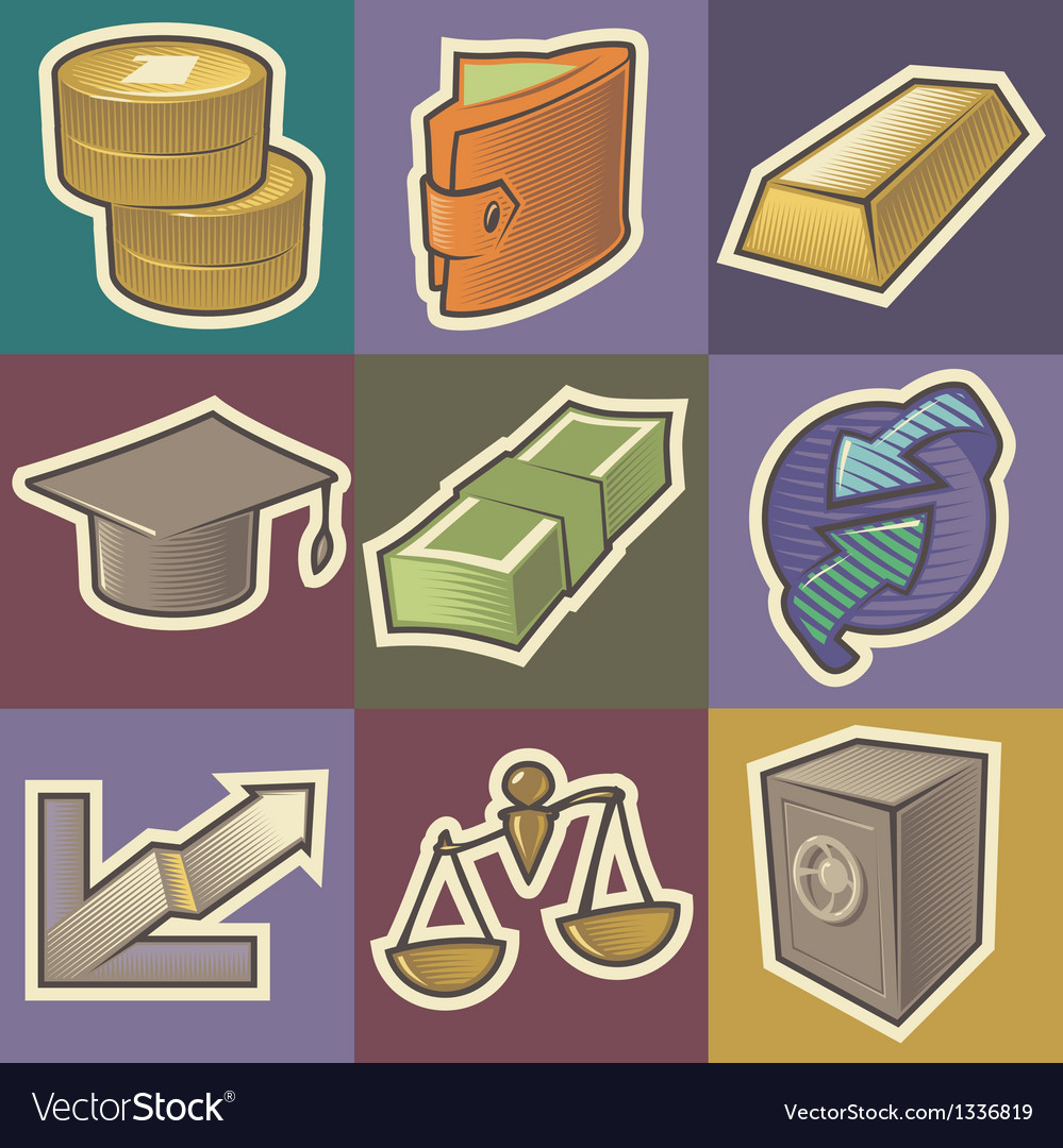 Multicolored finance icons vector   Price: 1 Credit (USD $1)
