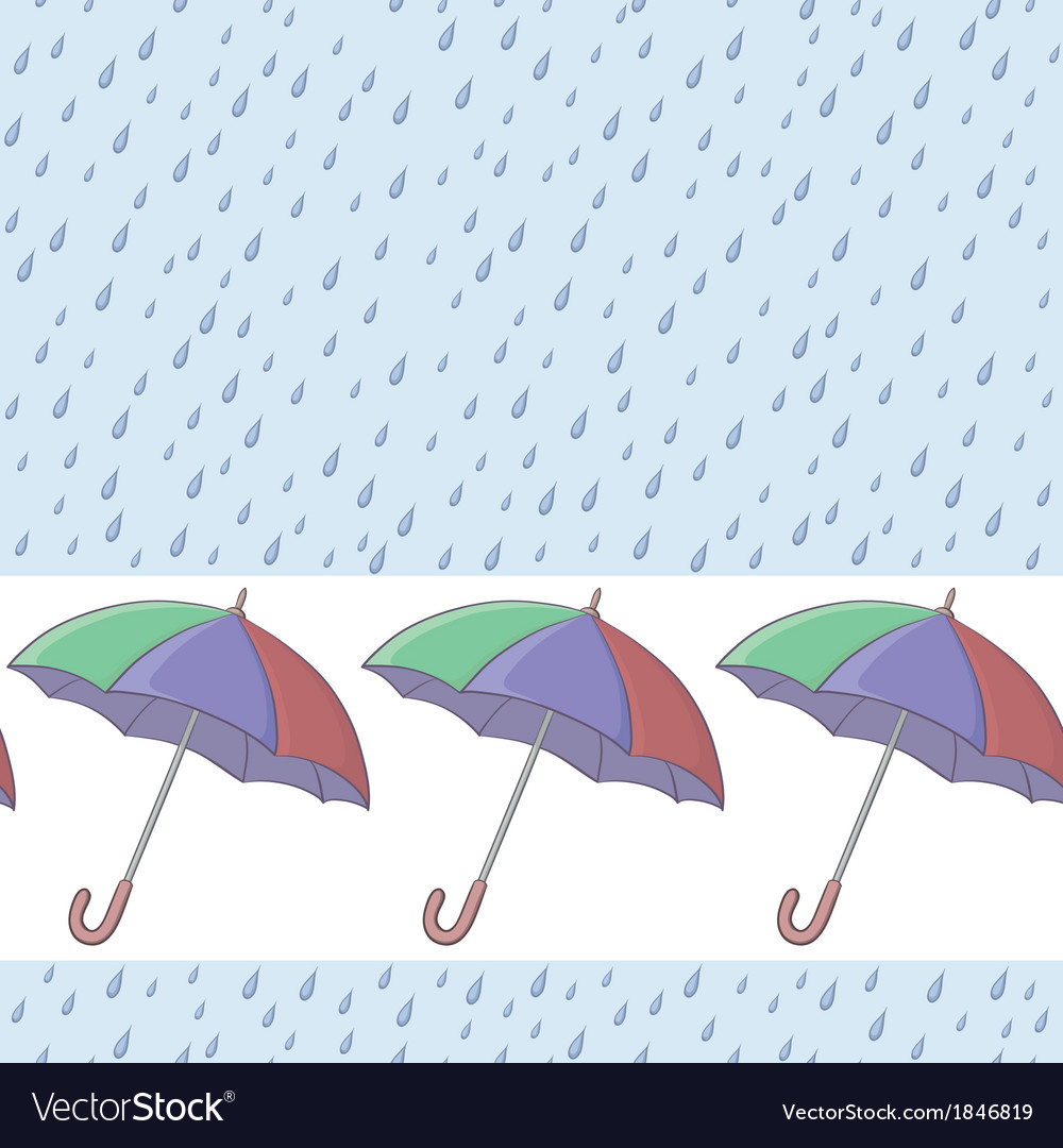 Umbrellas and rain seamless background vector | Price: 1 Credit (USD $1)