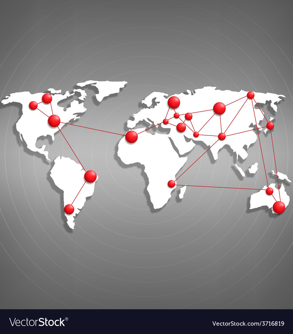 World map with red point marks on grayscale vector   Price: 1 Credit (USD $1)