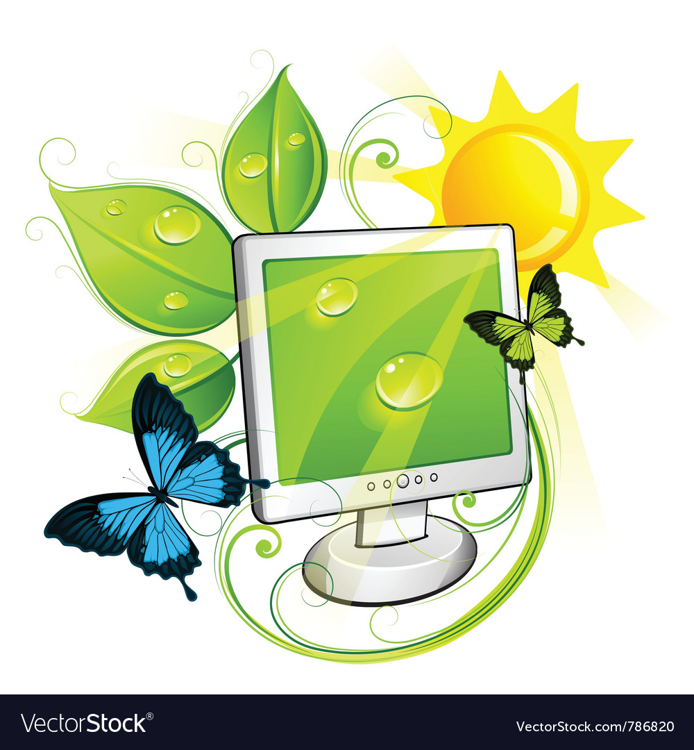 Environment friendly computer vector | Price: 3 Credit (USD $3)
