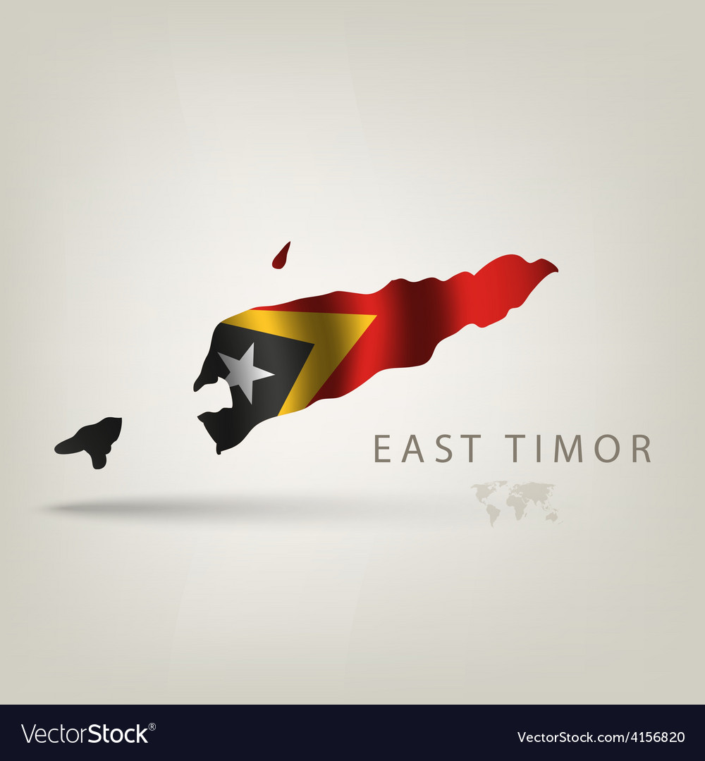 Flag of east timor as a country with a shadow vector | Price: 3 Credit (USD $3)