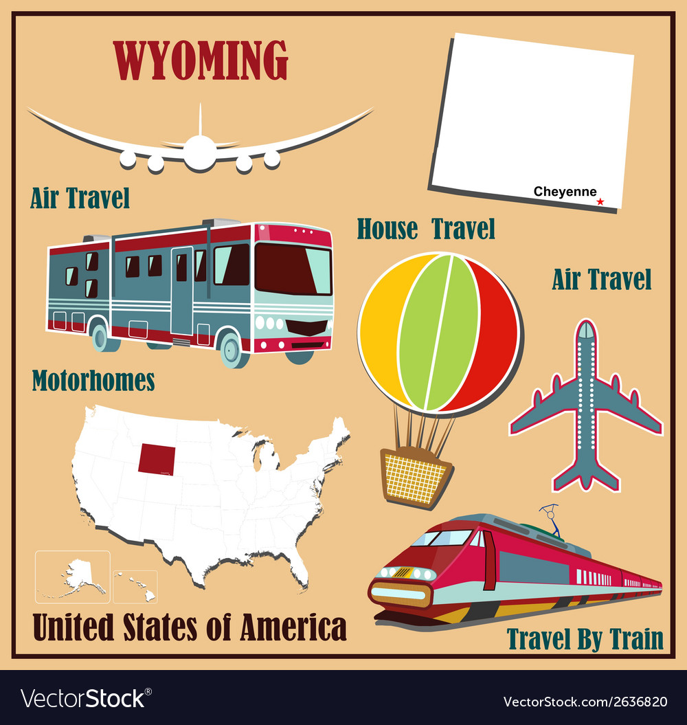 Flat map of wyoming vector | Price: 1 Credit (USD $1)