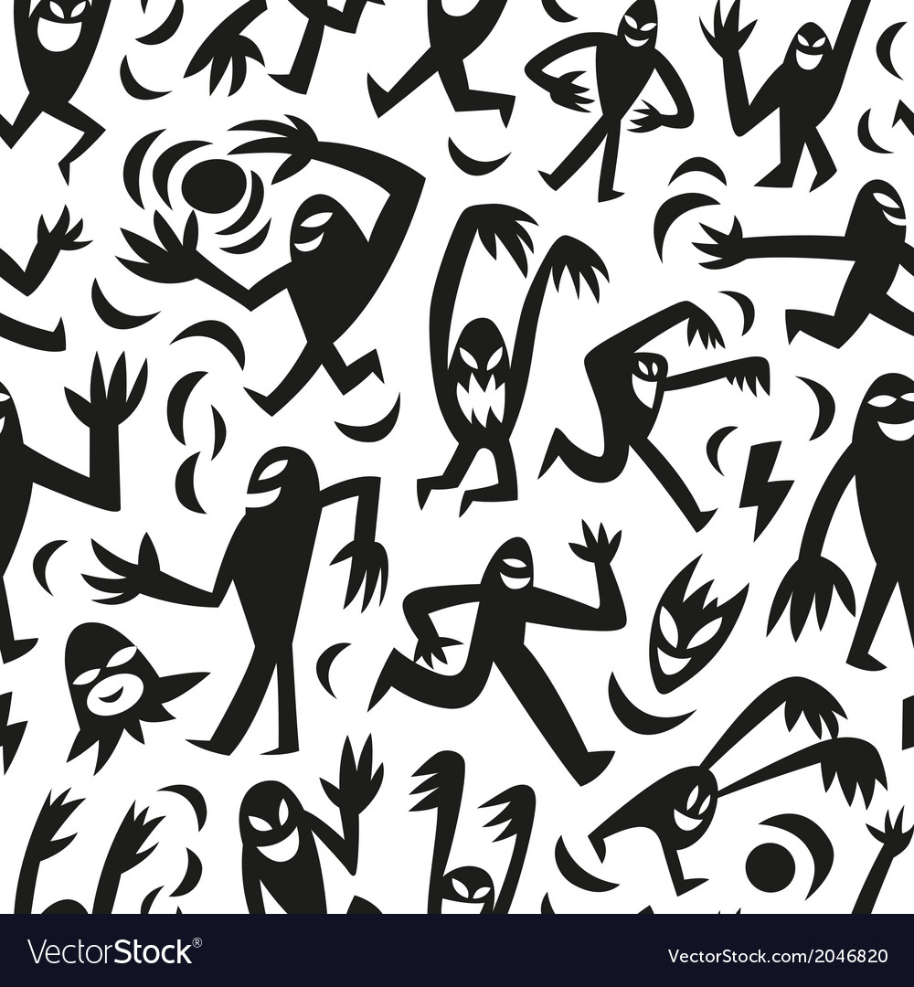 Funny monsters -seamless background vector | Price: 1 Credit (USD $1)