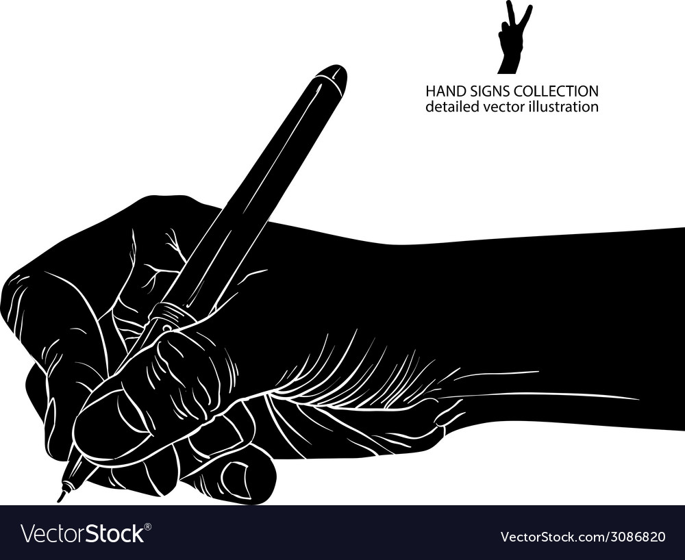 Hand writing with pen detailed black and white vector   Price: 1 Credit (USD $1)