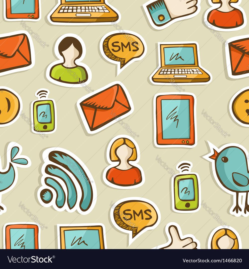 Social media cartoon icons pattern vector | Price: 1 Credit (USD $1)