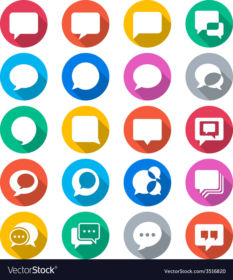Speech bubble flat color icons vector | Price: 1 Credit (USD $1)