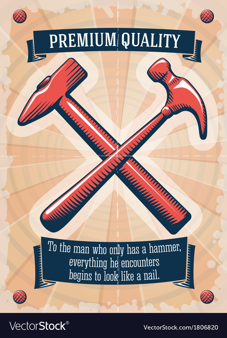 Two retro hammers tool shop poster vector | Price: 1 Credit (USD $1)