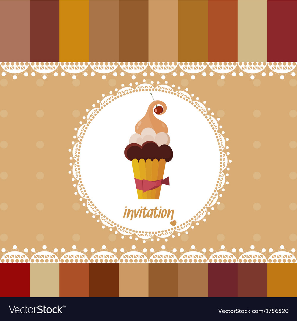 Vintage card-invitation-with cake vector | Price: 1 Credit (USD $1)