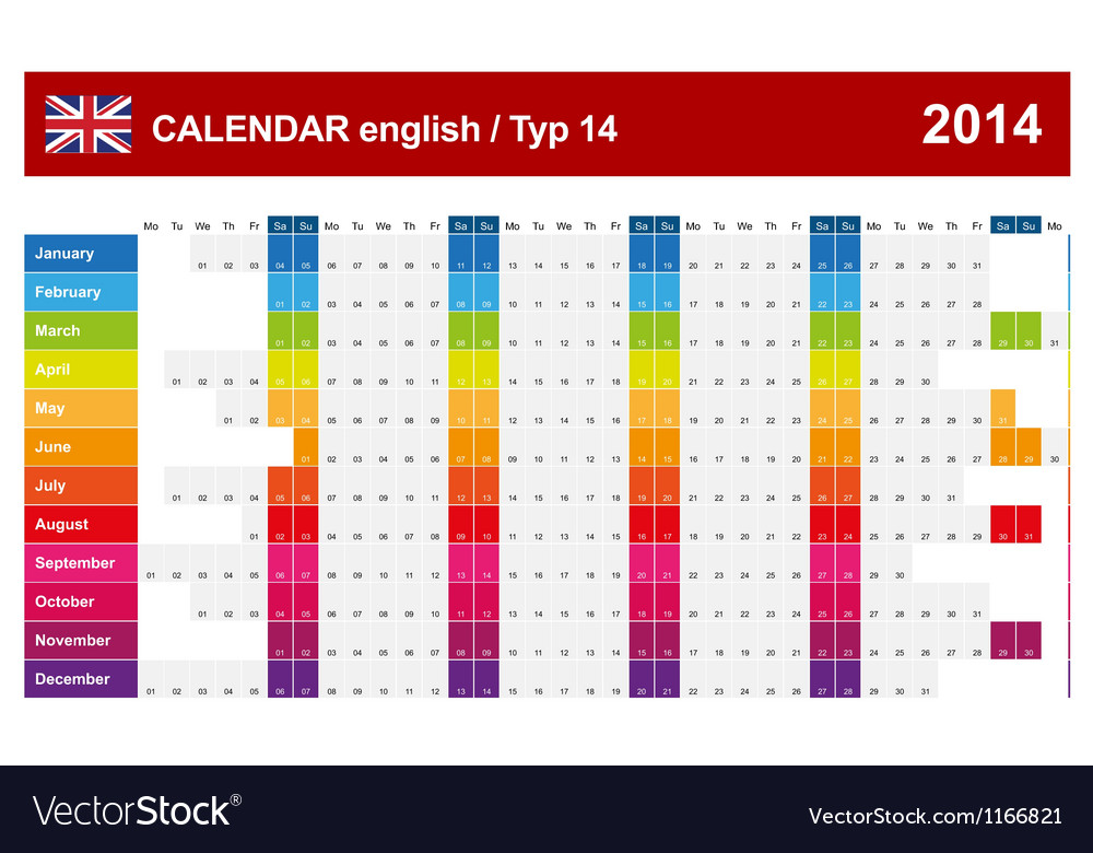 Calendar 2014 english type 14 vector | Price: 1 Credit (USD $1)