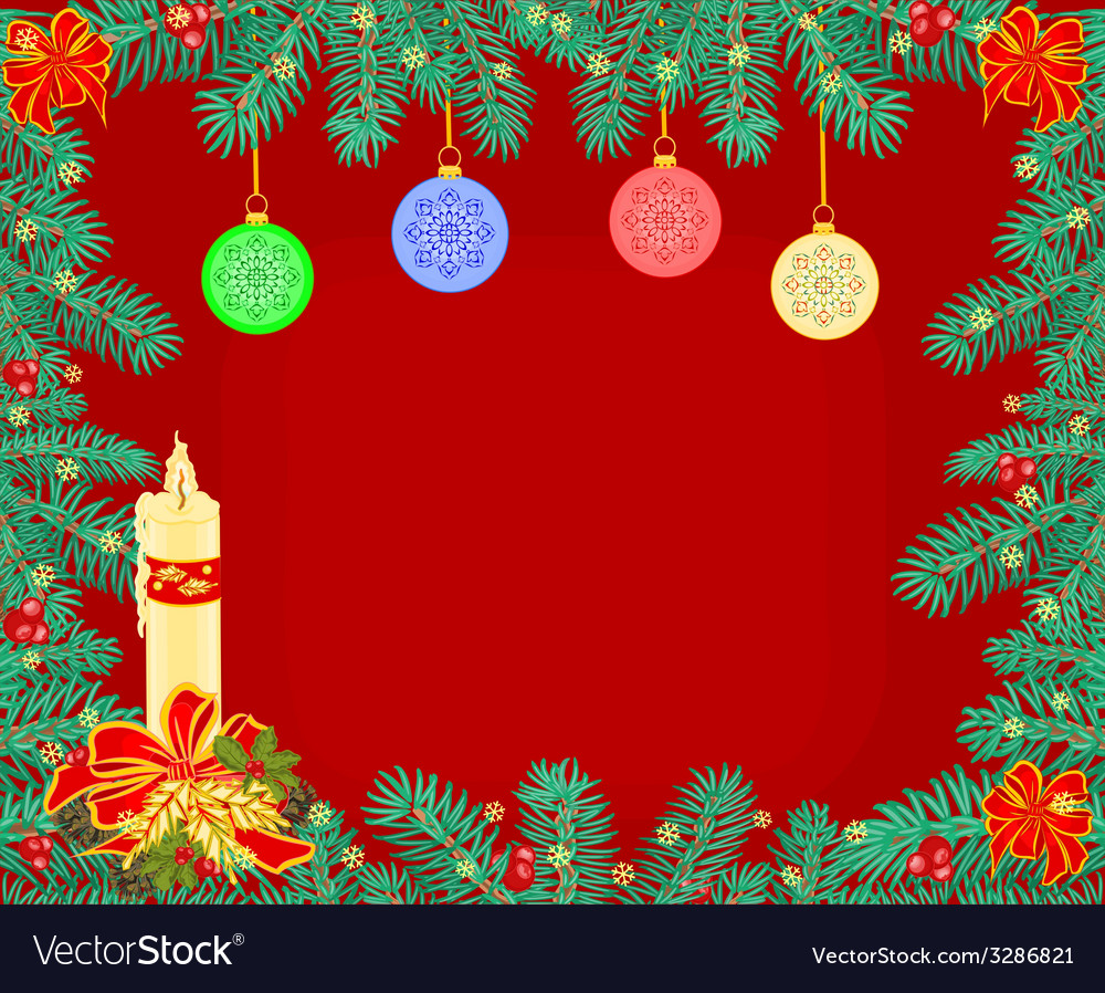 Christmas background decoration frame branches vector | Price: 1 Credit (USD $1)